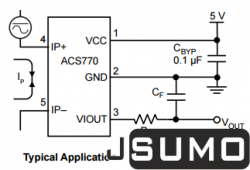 ACS770 Hall Effect Current Sensor (ACS770LCB-050U-PFF-T) - Thumbnail