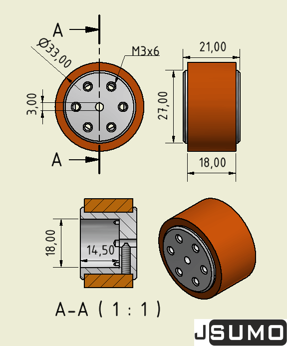SLT20 Aluminum - Silicone Wheel Set (33mmx20mm - Pair)