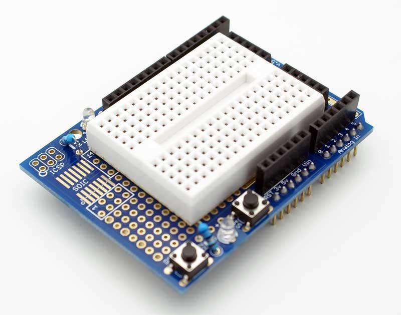 Arduino ProtoShield with 170 Pinhole Breadboard