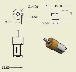 Carbon Microgear Dc Motor 6V 375RPM - Thumbnail