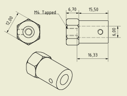 CNC Machined 12mm HEX Hubs (6mm Hole - Pair) - Thumbnail
