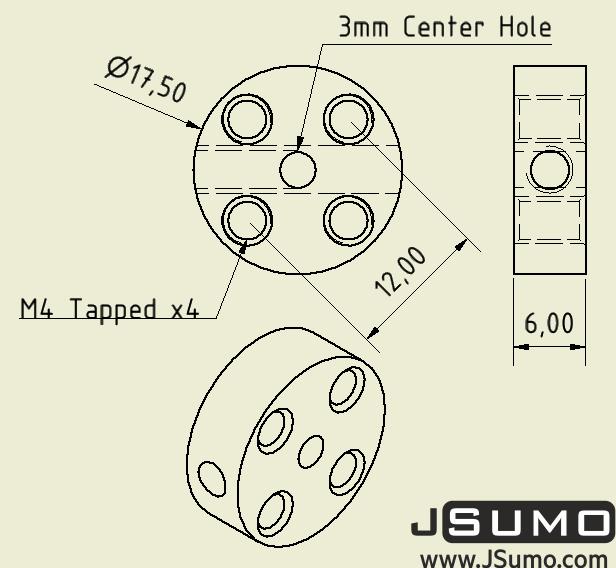 CNC Machined Flat Hubs (3mm Hole - Pair)