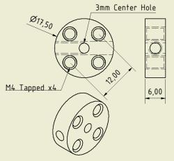 CNC Machined Flat Hubs (3mm Hole - Pair) - Thumbnail