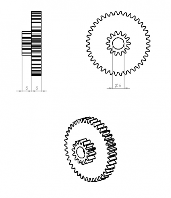 Jsumo - Concentric Double Gear (0,8 Module - 14-40 Tooth) (1)