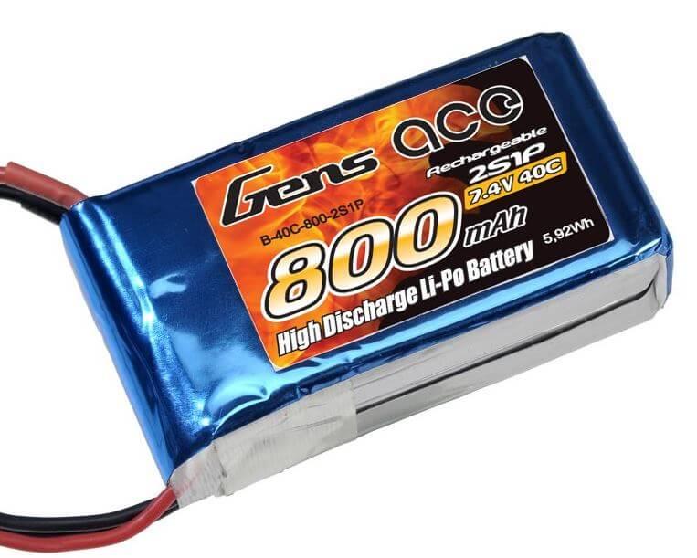GENSACE 800mah 7,4V 2S 40C LiPO Battery
