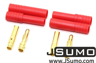 Amass - Gold Connector Plug Pair (4mm Banana + Cases) (1)