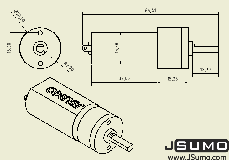 HP20 12V 1500 Rpm 12:1 High Power DC Motor