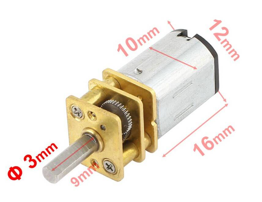 MP12 Micro Gear Motor 6V 1050 RPM HP