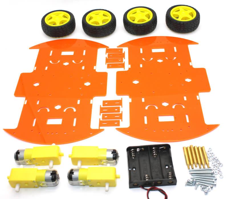 RoboMOD 4WD Mobile Robot Chassis Kit (Orange)