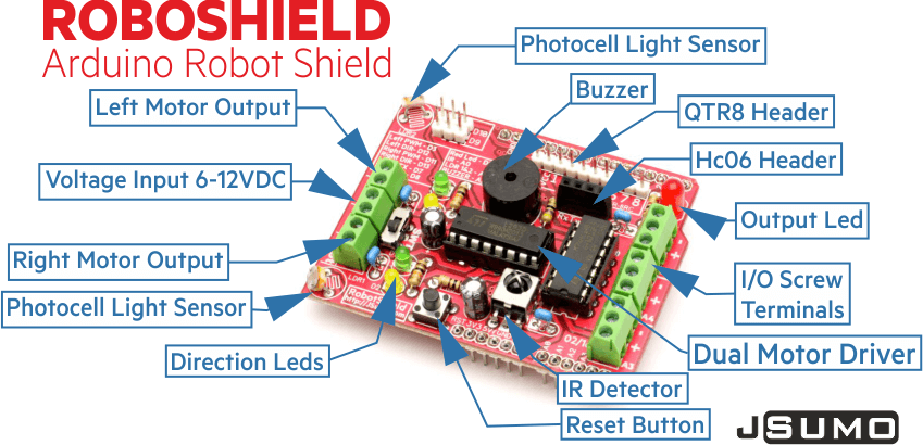 RoboShield Arduino Robot Shield (Assembled)
