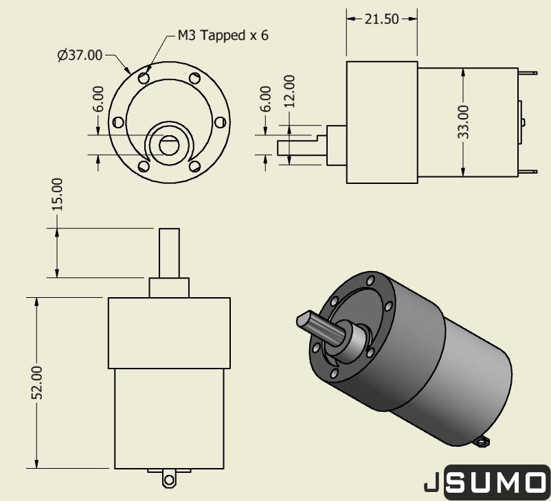 Robotus Titan Dc Gearhead Motor 12V 200 RPM (60:1)