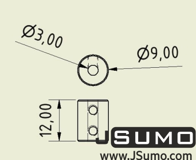 Jsumo - Shaft Coupler 3mm-3mm (Pair) (1)