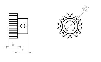 Steel Motor Pininon Gear (0,8 Module - 16 Tooth)