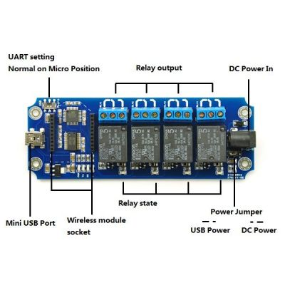 - TOSR04 - 4 Channel USB/Wireless 5V Relay Module (1)