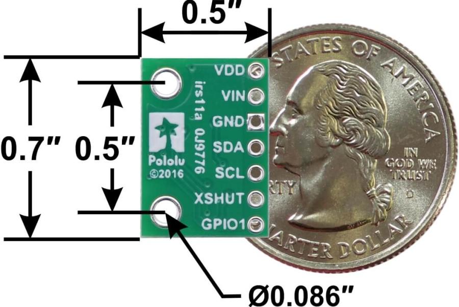 VL53L0X Time-of-Flight Distance Sensor Carrier with Voltage Regulator, 200cm Max (Pololu)