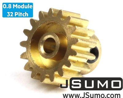 Jsumo - 0.8 Module (32 Pitch) 17T Pinion Brass Gear - Ø3.17mm