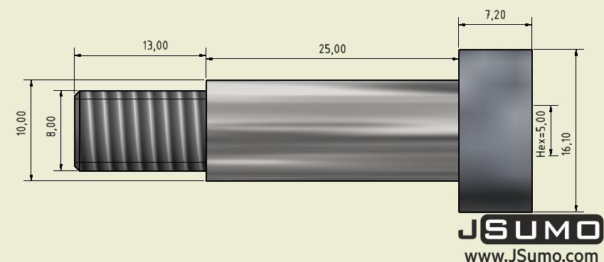 Ø10x25mm Hardened Steel Shaft Screw