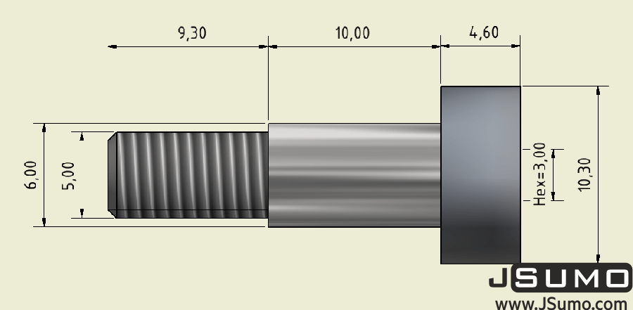 Ø6x10mm Hardened Steel Shaft Screw