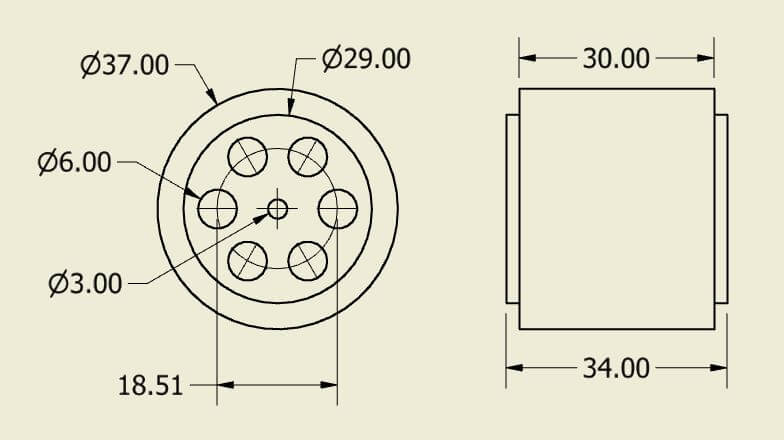 Atom Wheel 37x34mm Pair