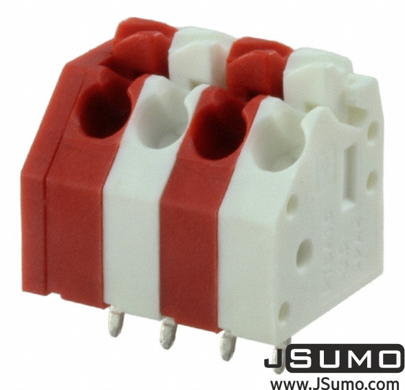 Button Spring Terminal Red-White 4 Pos 3.5mm Pitch