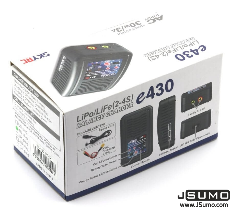 E430 AC Input 3Amp 30Watts LiPo (2S-4S) Charger
