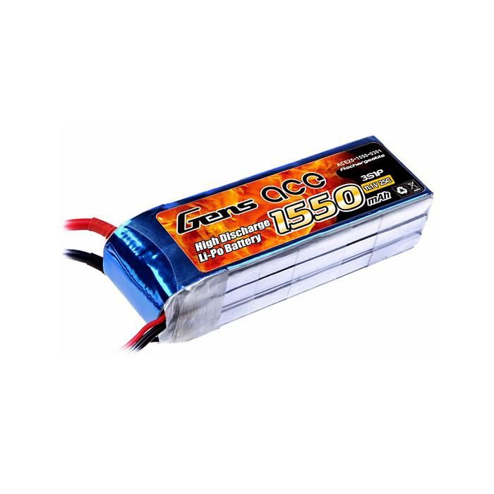 Gens Ace 1550mAh 11.1V 25C 3S1P LiPo Battery