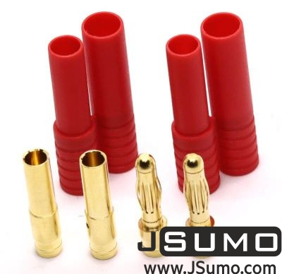 Amass - Gold Connector Plug Pair (4mm Banana + Cases)