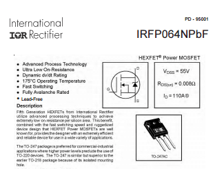 International Rectifier (Infineon) - IRFP260N High Power Mosfet 200V 50A (1)