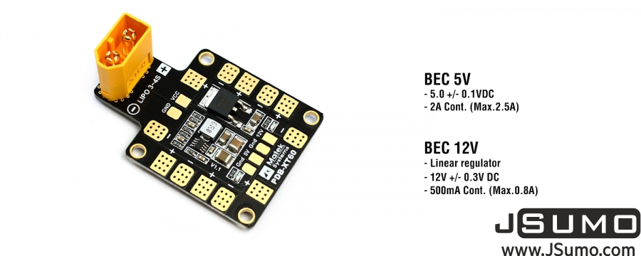 Matek PDB-XT60 w/BEC (5V and 12V)