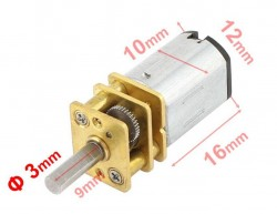 MP12 Micro Gear Motor 6V 1050 RPM HP - Thumbnail