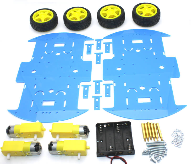 RoboMOD 4WD Mobile Robot Chassis Kit (Blue)