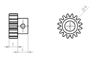 Steel Motor Pinion Gear (0,8 Module - 16 Tooth)