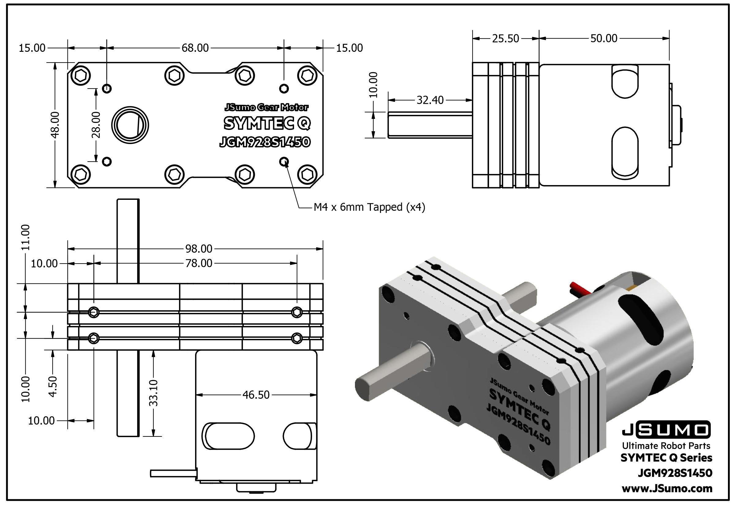 Symtec Q Gearmotor (12V 1450 RPM 9.28:1 44 Kgcm)
