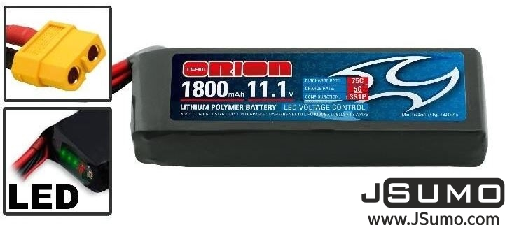 Team Orion 11.1V 1800 mAh 75C 3S1P Lipo Battery