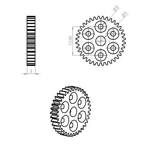 Wheel Side Gear (0,8 Module - 36 Tooth)