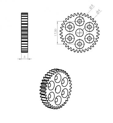 Jsumo - Wheel Side Gear (0,8 Module - 36 Tooth) (1)
