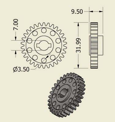 Jsumo - Wheel Side Spur Gear (1 Module - 30 Tooth) (1)